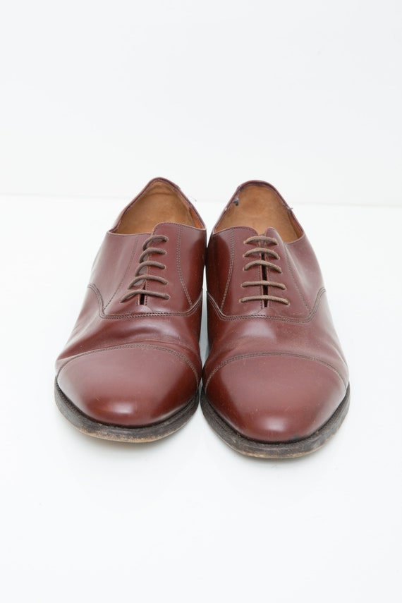 Brown Dress Shoes, Semi Pointed Oxford Lace, Plain