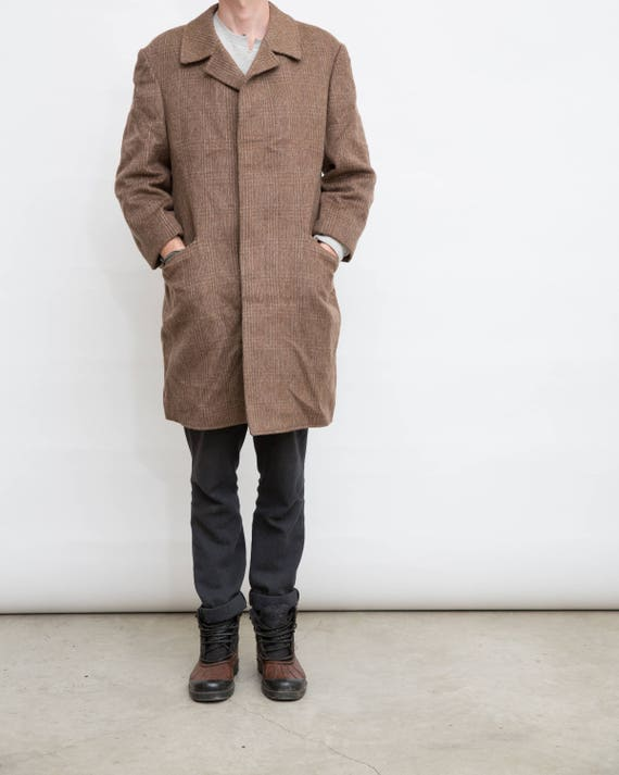 Herren Warm Wollmantel Größe Braun L Großen Vintage Mantel Männer tsrChdQ