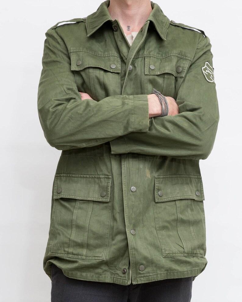 Large Size Men Jacket Green Army Shirt Khaki Buttoned Jacket Vintage Men Hunting Jacket