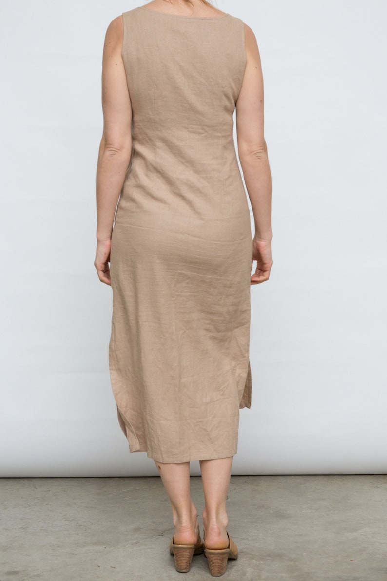 Beige Maxi Gown Full Length Dress Medium Size Dress Alize Diffusion Dress 90s Linen Dres Vintage Sleeveles Dress