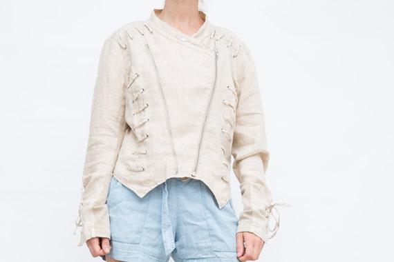 Vintage Beige Pure Linen Crop Jacket, Large Size J