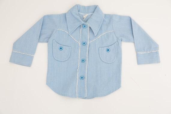 Vintage Baby Top, Size 74 Shirt , Blue Shirt, Retr