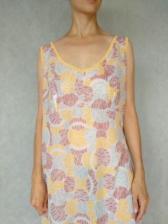 Vintage 80s Patterned Slip On Dress, Soviet Underw