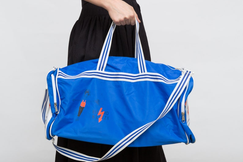90s Vintage New Gym Retro Duffle Bag Blue Big Sports Bag  c0af6f8048e01