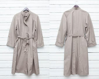 Vintage Beige Trench / Midi Beige Button Up Single Breasted Trench  Coat / Women's Long Sleeve Jacket  / Size L Large