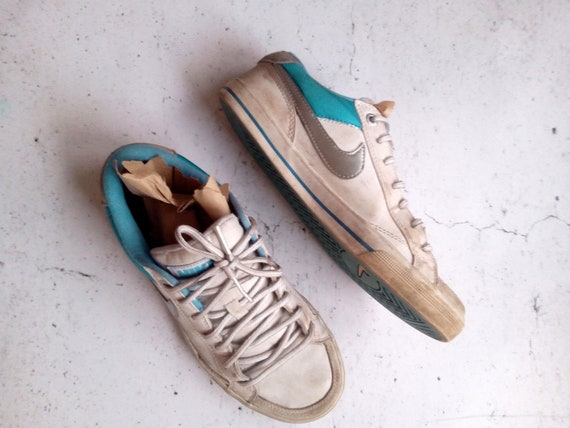 Vintage Nike Sneakers, White Blue Nikes, Lace Up S
