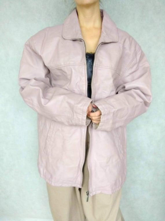 Vintage Lilac Leather Jacket, Blush Pink Leather J