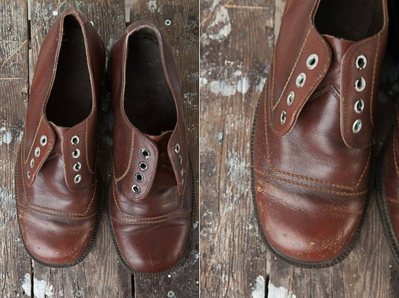 1980's Vintage Dark Brown Wide Fit Leather Shoes f
