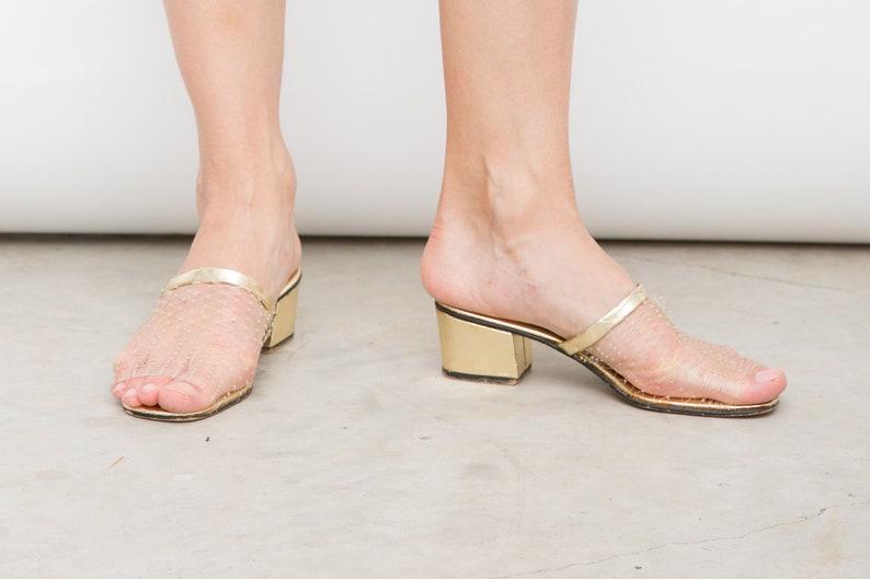544ef943f6 Vintage Slip On Heels Sheer Net Shoes High Heel Shoes Made   Etsy