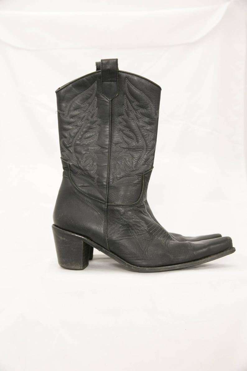 80s Cowboy Boots Black Cowboy Boots Black Western Shoes 39 EU  US 8.5  UK 6.5 Genuine Leather Shoes