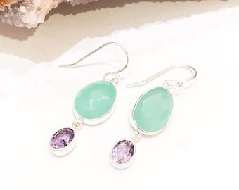 Aqua Onyx and Amethyst Earrings