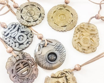 Carved Stone Pendant Necklace