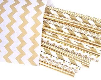 Gold Foil Straws -Gold Wedding party supplies -Gold Straws -Gold Foil Straws -Gold Shower -Gold Paper Straws - Gold Polkadots - Cake Pops