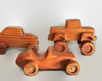Wooden Toy moster truck and two wooden toy cars