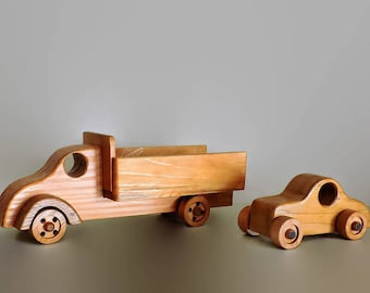 Wooden Toy truck and wooden toy car