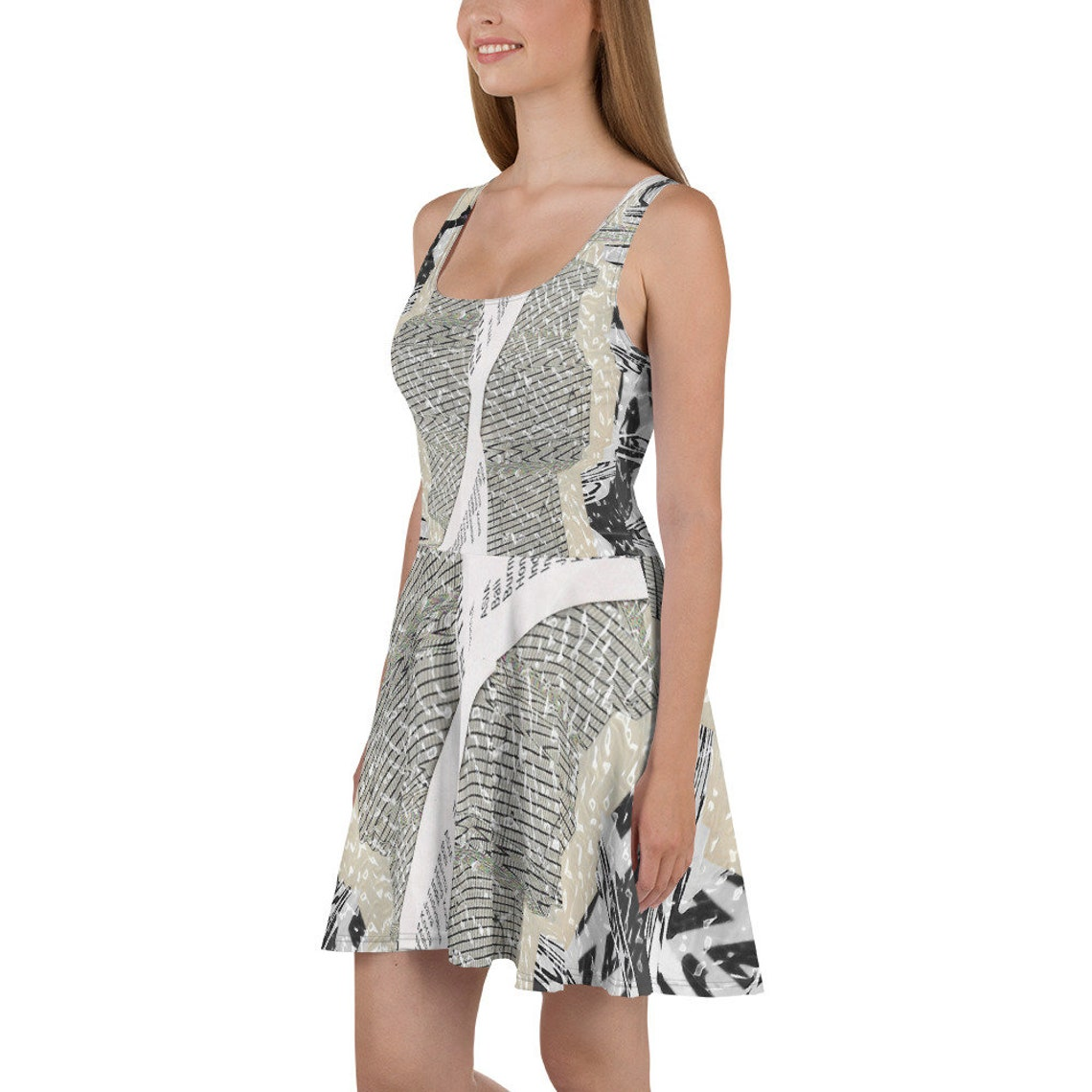 AGNES  Abstract Art Graphic All Over Print Skater Dress
