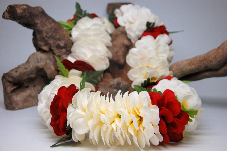White and red silk plumeria flower lei with fern graduation etsy 50 izmirmasajfo