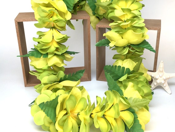 Green and yellow silk plumeria flower lei with fern mightylinksfo
