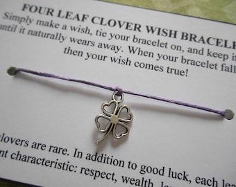 Four Leaf Clover Wish Bracelet - Clover Bracelet - Party Favor - Lucky Clover - Irish - Saint Patrick's Day - Good Luck - Shamrock Bracelet