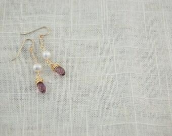 Swarovski Crystal and Freshwater Pearl Dangle Earrings