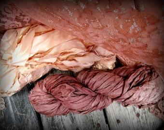 Silk Ribbons, Sari, Sewing, Embellishments, Shabby Chic, Craft Supplies, Hand Dyed, Destash