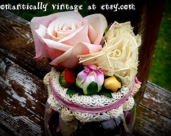 Roses, Mason Jar, Romantic Home Decor, Shabby Chic, Rustic Wedding, Vintage Inspired, Victorian, Woodland, Floral Garden