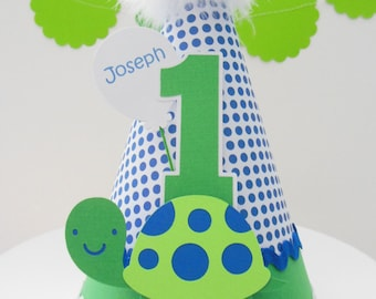 Lil' Turtle Birthday Party Hat -Blue Dot, Green and White -Personalized