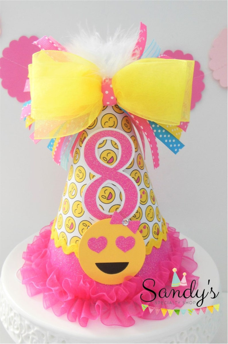 Glitter Pink Emoji Birthday Party Hat   Emoji pattern image 0