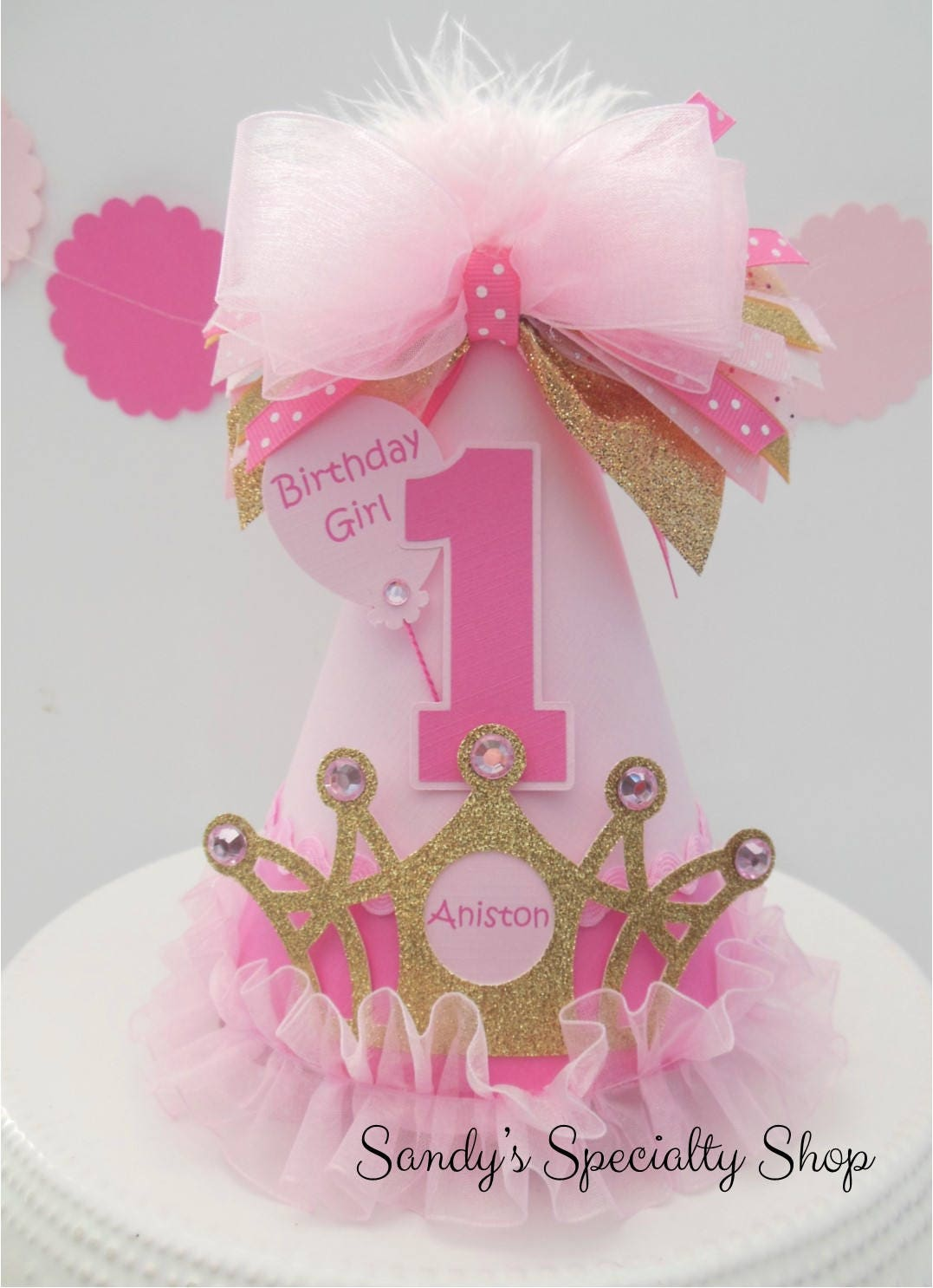 Ombre Pink and Glitter Gold Crown Princess Birthday Party | Etsy