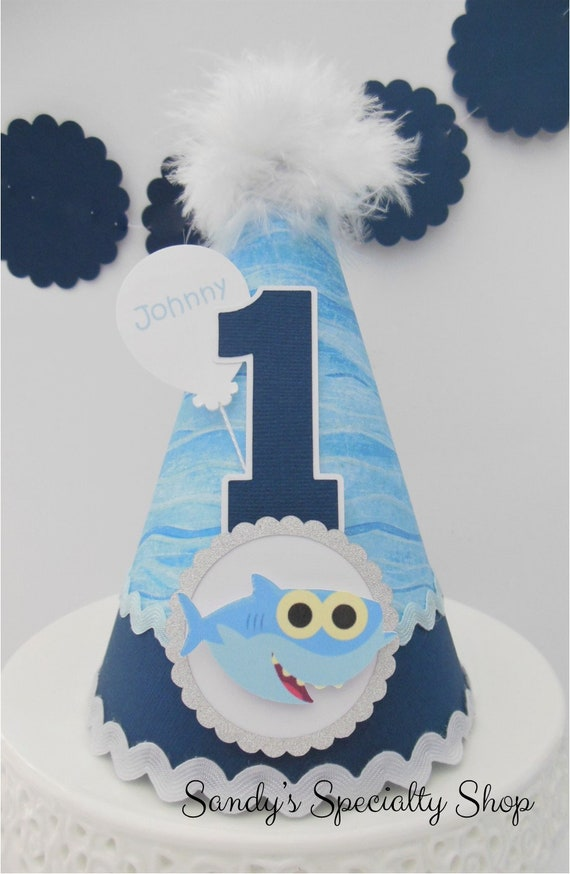Baby Shark Birthday Party Hat Blue Wave Navy Dark Blue Light Blue Silver Personalized By