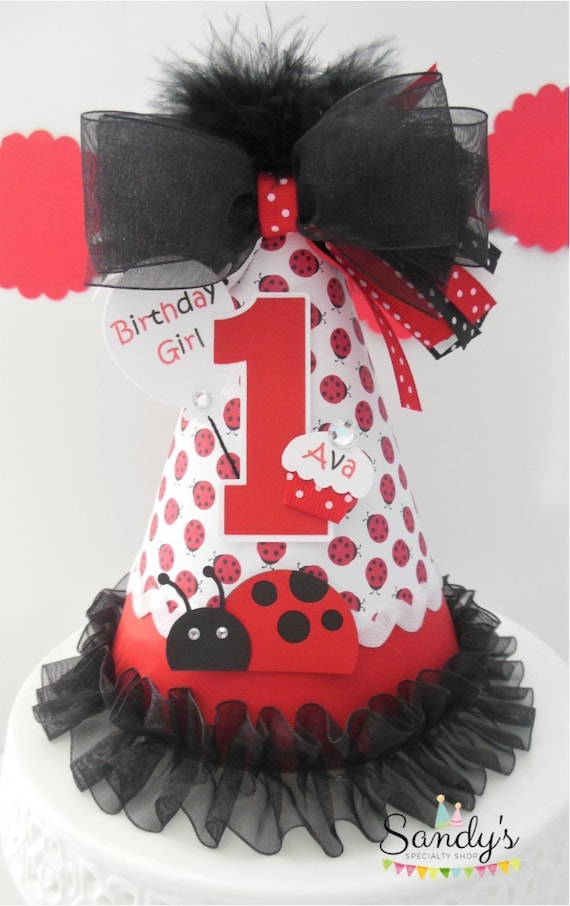 Lil Ladybug Birthday Party Hat Red Black And White
