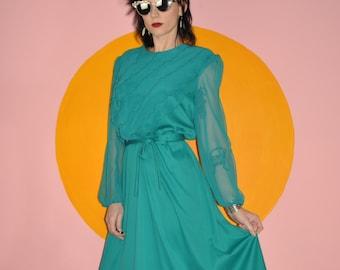 Vintage 70s 80s Sea Green Chiffon Ruffle Secretary Midi Dress 10 M
