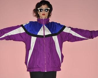 Vintage 90s Color Block Purple Blue Bomber Windbreaker Jacket L