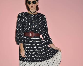 Vintage 80s Black White Secretary Polka Dot Pleated Midi Dress