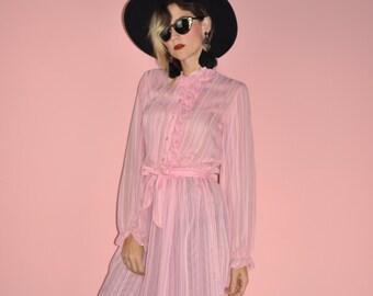 Vintage 70s Pink Striped Sheer Ruffle Secretary Midi Shirt Dress M
