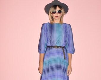 Vintage 70s Blue Purple Striped Gradient Lavender Puff 3/4 Sleeve Midi Dress M