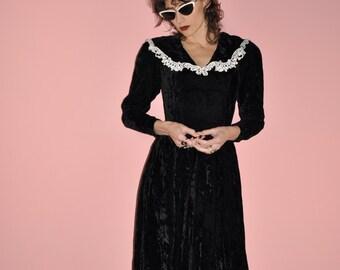 Vintage 80s Black Crushed Velvet Lace Gunne Sax Midi Prom Dress XS