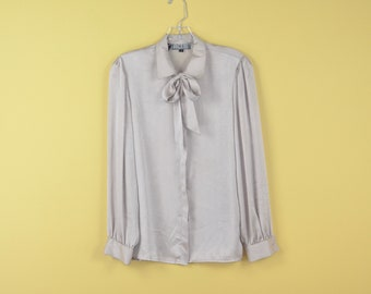 Vintage 80s Secretary Office Yellow Satin Front Tie Shirt Blouse Top size M