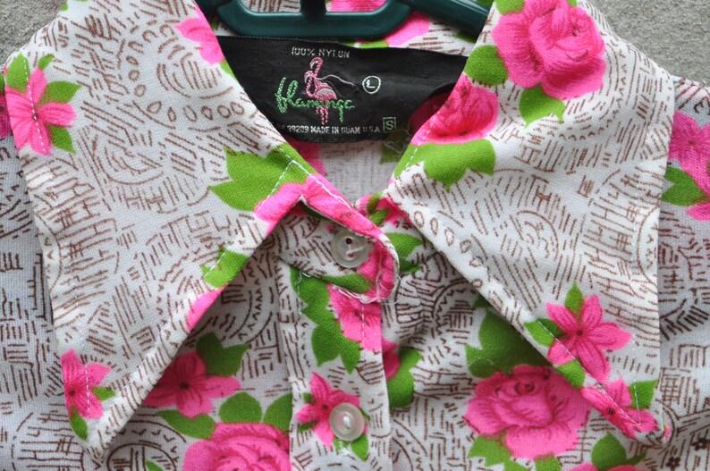 Vintage 70s Neon Pink Rose Floral Disco Novelty Shirt Blouse S