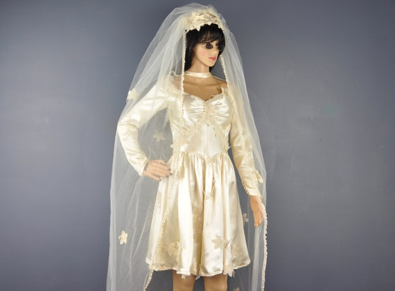 70s Wedding Dress Vintage Mini Ivory Satin Sexy Ve