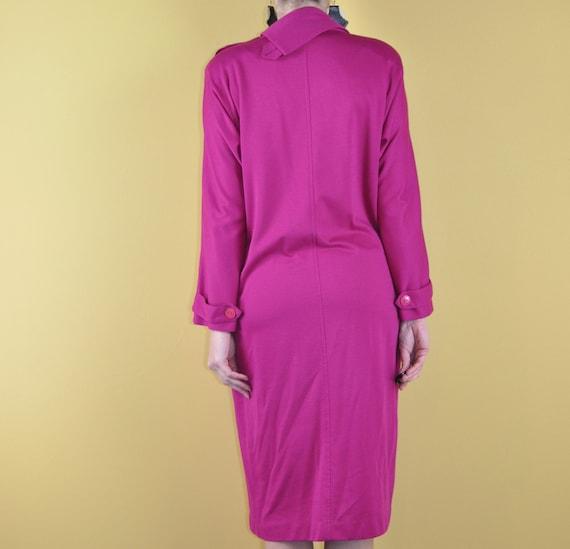 70s LARGE BOW dress L XL  fuchsia pink bow tie shift dress long sleeve midi dress statement bow magenta dress 1970s 80s 1980s