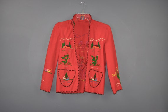 50s Embroidered Wool Mexico Jacket S