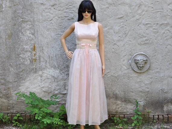 60s Pink Chiffon Dress XS