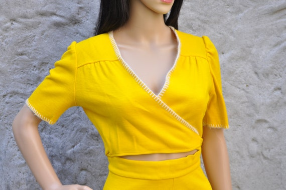 60s 70s Yellow Pant Suit XS - image 2