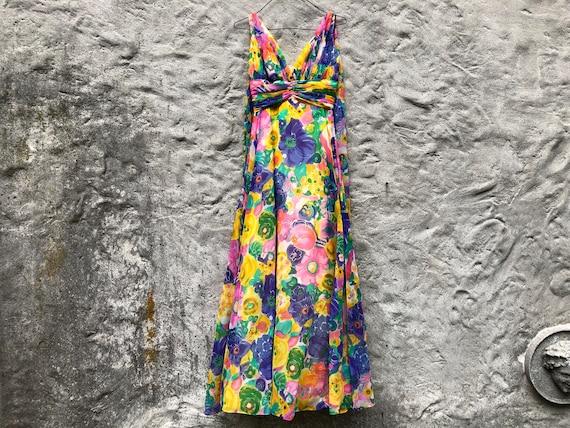 60s Chiffon Dress Floral Dress Petite XS 0