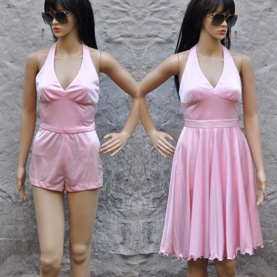 70s Pink Romper Skirt Set XS