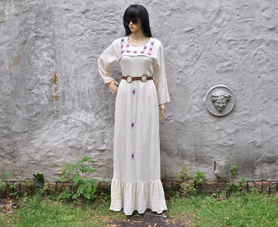 70s White Embroidered Gauze Dress L