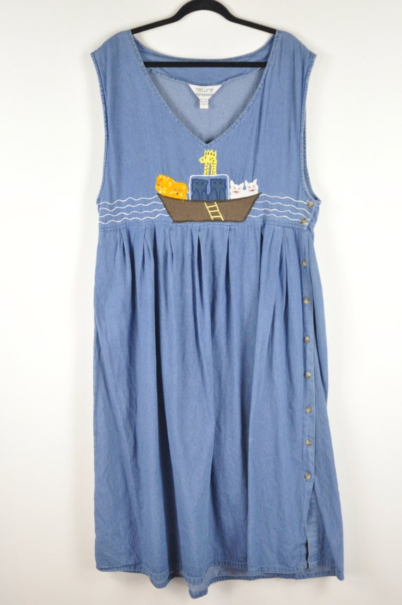90s Noahs Ark Pinafore Dress - Large | Vintage Bl… - image 2