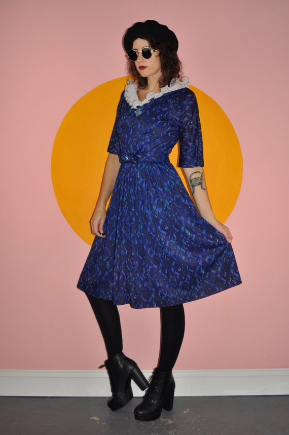 60s 70s Blue Floral Ruffle Dress S