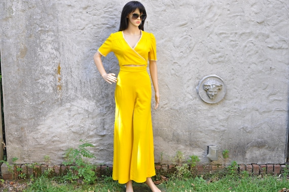 60s 70s Pant Suit Yellow Bell Bottom Two Piece Hig